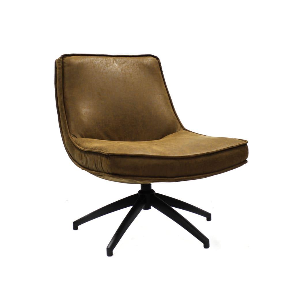 Industriële fauteuil Joost cognac